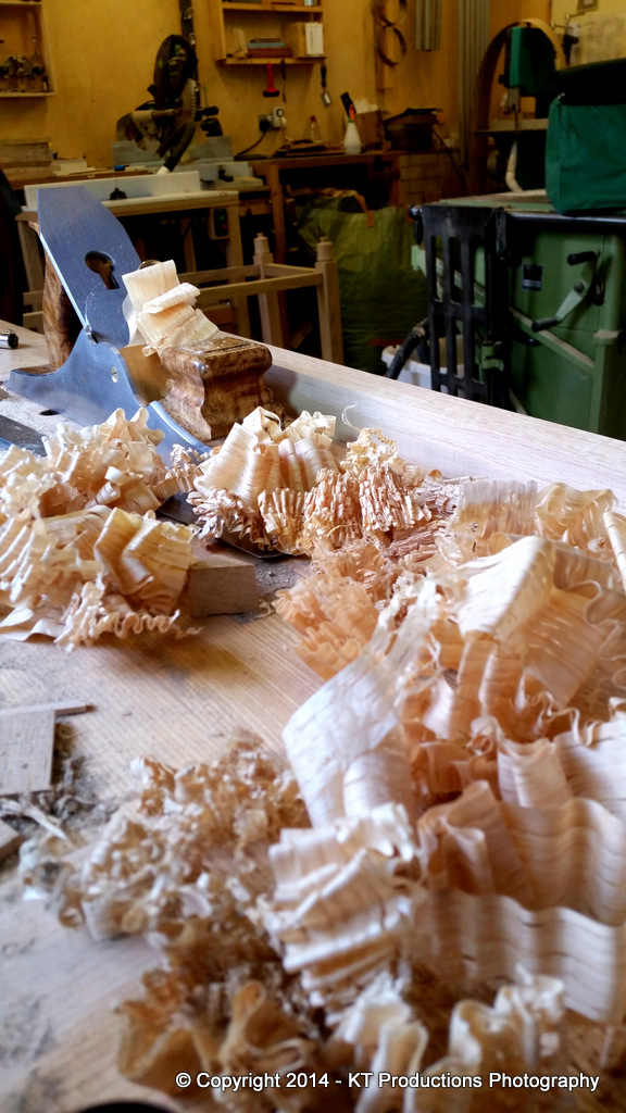 Pile of shavings during testing of English Infill Panel Plane